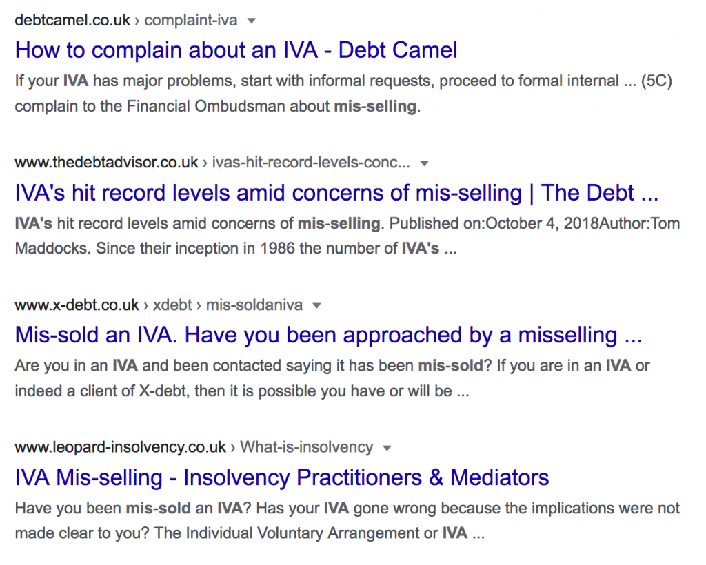 Google search results for the term IVA mis-selling