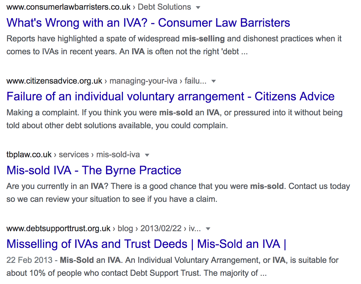 """Google search results for the term """"IVA mis-selling"""""""